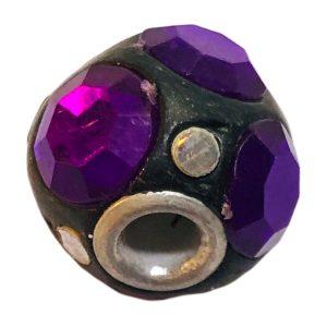 Cuentas disco18 mm con strass de la India violeta