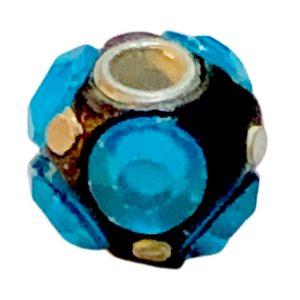 Cuentas disco18 mm con strass de la India turquesa