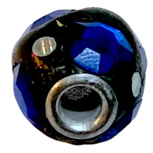 Cuentas disco18 mm con strass de la India azul