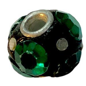 Cuentas disco 18 mm con strass de la India verdes
