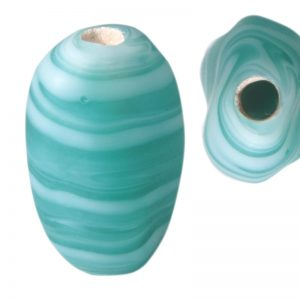 Cuentas retorcidas de cristal de murano opalinas turquesas