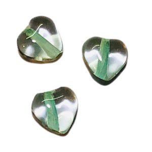 Corazones de cristal de murano verde