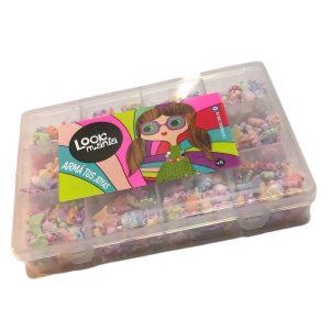 Kit look 01 de dijes primavera en caja plastica organizadora
