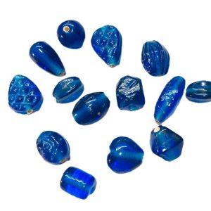 Dijes de vidrio de la India azules