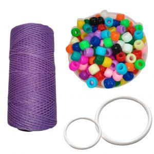 Combo D de 100 gs de cuentas mostacillon para pelo + 10 argollas plasticas para atrapasueños mandalas + 1 hilo encerado de 70 metros