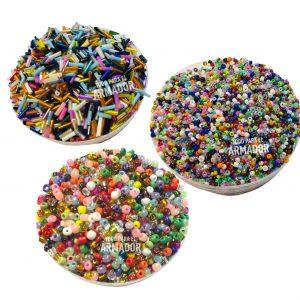 Combo G de 100 gs de mostacillones surtidos + 100 gs de mostacillas surtidas + 100 gs de canutillos surtidos