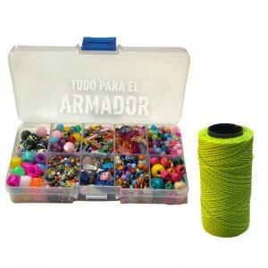 Kit en caja organizadora plastica de 1 hilo encerado de 70 mts +cuentas mostacillas mostacillones ceramicas canutillos escallas de piedras bolitas de madera perlas facetadas (copia)
