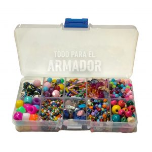 Kit en caja organizadora plastica de cuentas mostacillas mostacillones ceramicas canutillos escallas de piedras bolitas de madera perlas facetadas