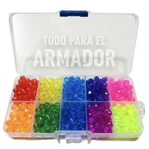 Kit en caja organizadora plastica de perlas facetadas